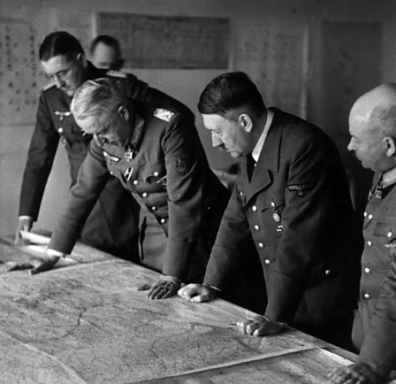Adolf Hitler looking at a map and planning the offensive on Stalingrad
