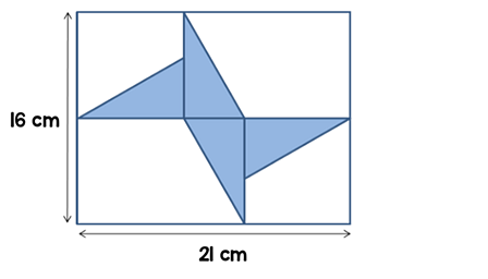 Four congruent triangles places in a rectangle with a width of 21 cm and a height of 16 cm.