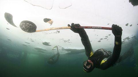 What is underwater ice hockey?
