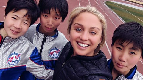 Aimee Fuller and a group of Korean athletes
