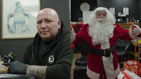 The tattooist who becomes Father Christmas