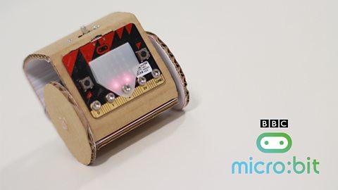 A cardboard robot using a BBC Micro:bit