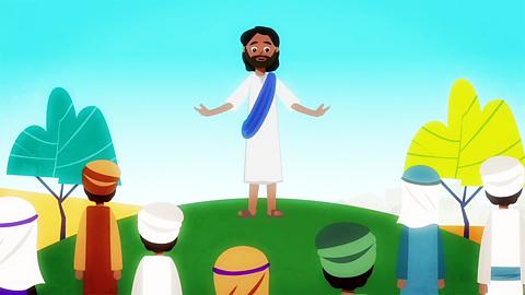 Jesus preaching to His followers