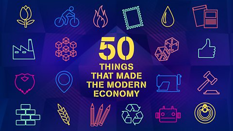 Podcast Title Card for 50 Things That Made The Modern Economy. Primarily Purple with Yellow Text.