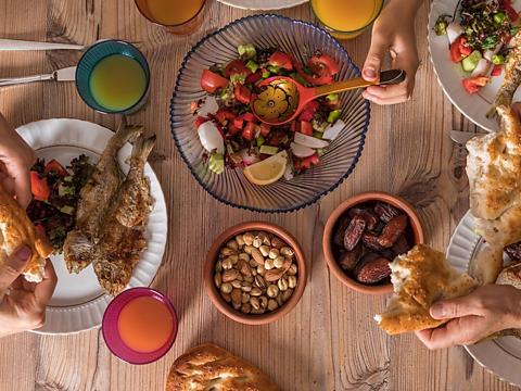 A family share iftar.