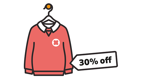 Jumper with a label showing 30% off