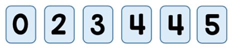Cards: 0, 2, 3, 4, 4, 5.