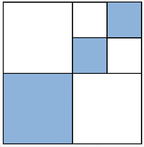 The bottom right square is highlighted blue, and so are two other blues square that are half the size of the blue square.