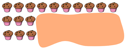 Sixteen cupcakes and an unknown amount is hidden.
