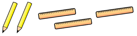 Two pencils and three rulers.