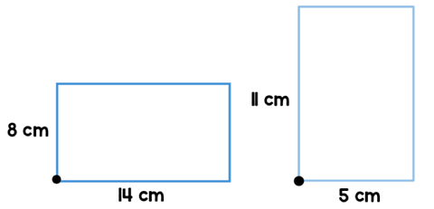 The left rectangle has a width of 8cm and length of 14cm, while the right rectangle has a width of 11 cm and length 5 cm.