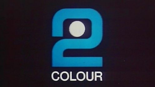 The BBC's first colour on-screen identity a rotating '2'.