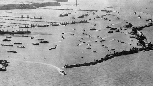 Mulberry harbour established during D-Day