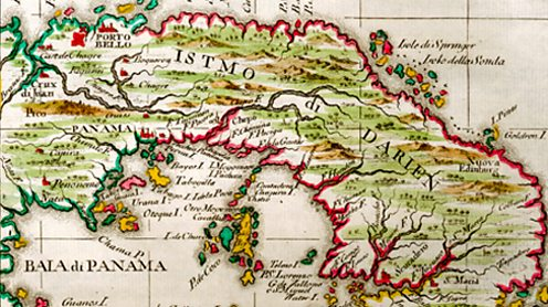 18th century map depicting the isthmus of Panama. Mary Evans Picture Library