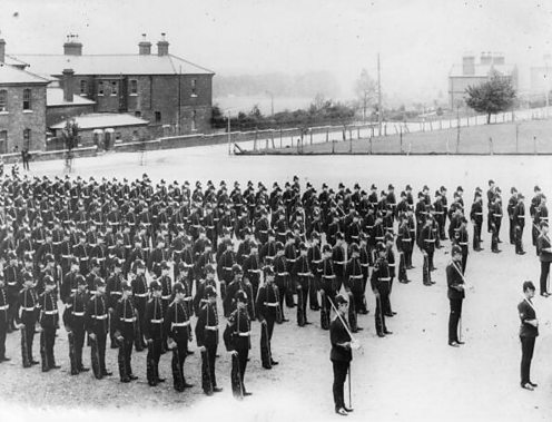 The Suffolk Regiment on parade near Dublin, during the Curragh Mutiny.