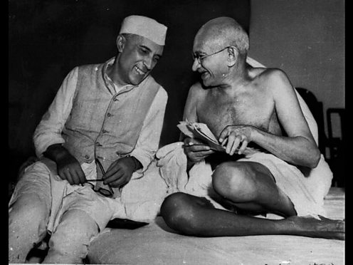 Jawaharlal Nehru and Mohandas Gandhi. AP Max Desfor