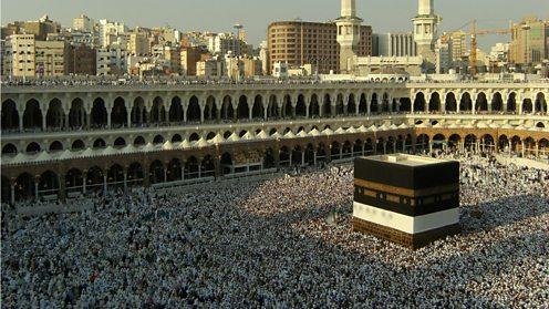 Muslim pilgrims circumambulating the Kabbah in Mecca during Hajj