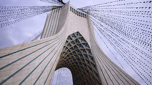 Tehran's Azadi tower strung with black flags for Ashura