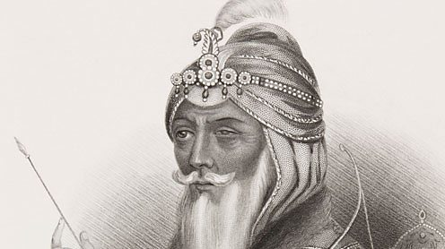 Ranjit Singh illustration from the book 'Gallery of Historical Portraits', pub. 1880.