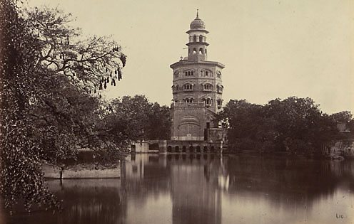 The Baba Atal, a nine-storied tower, part of the Golden Temple in Amritsar, India 1863.