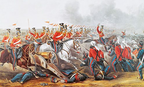 English cavalry attacking the Sikh at the Battle of Aliwal, 1846. Colonial Wars
