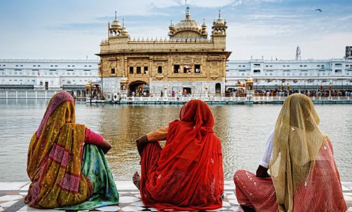 Worshipers in front of the Golden Temple at Amritsar