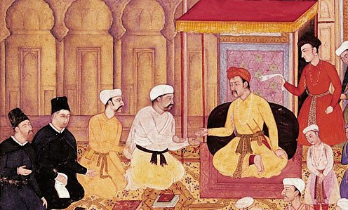 Emperor Akbar in conversation with Jesuit missionaries
