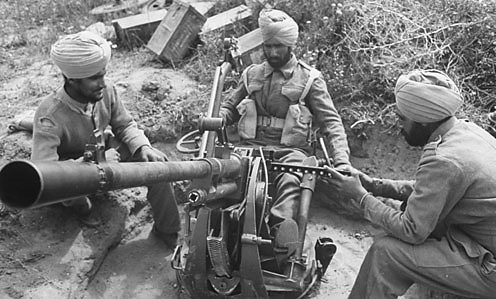 Sikh members of the 4th Indian Division of the British 8th Army