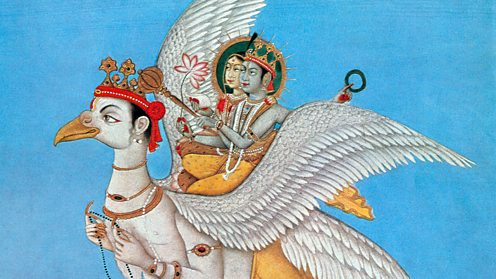 Rama and Sita riding on Garuda, the sun-eagle.