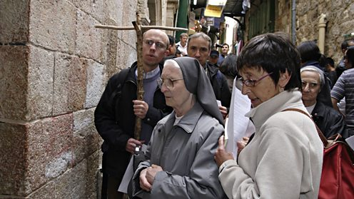 Pilgrims on the Via Dolorosa