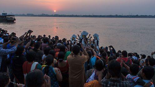 Immersion of Durga idols at the end of Durga Puja, Kolkata, West Bengal