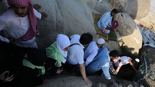 Muslim pilgrims visit the cave where the Prophet Muhammad took shelter during the Hijra