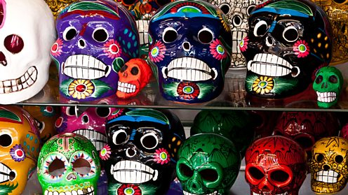 Decorated skull sculptures for the Day of the Dead Festival
