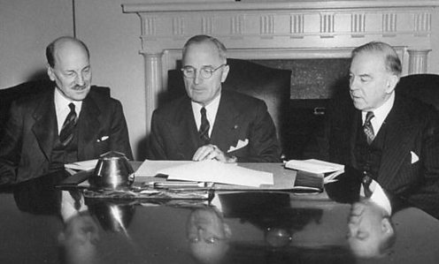 Harry S. Truman (C), Clement Atltee (L) and King Mackenzie at the White House