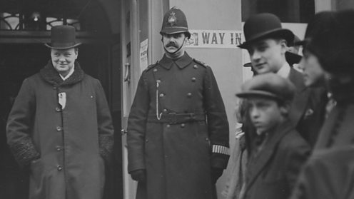 Winston Churchill outside a polling booth in 1924