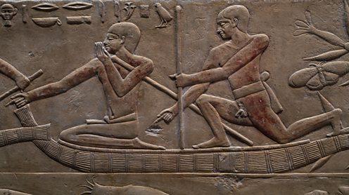 Egyptian boat, relief inside the Mastaba of Kagemni, Saqqara Necropolis, Memphis