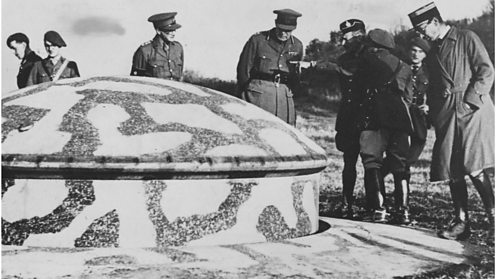 French officers show their British allies the fortifications on the Maginot Line