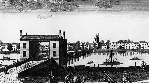 Drawing of Putney Bridge from circa 1790