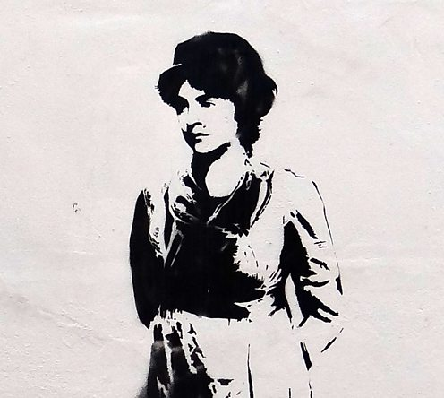 Image of Mary Wollstonecraft painted on Newington Green Unitarian Church by Stewy