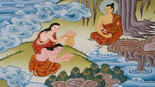 Sujata giving milk rice to Buddha