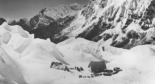 The 1952 Swiss expedition's camp on the Khumbu glacier at 5600m above sea level.