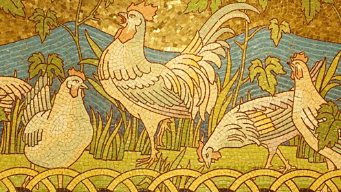 A mosaic of chickens
