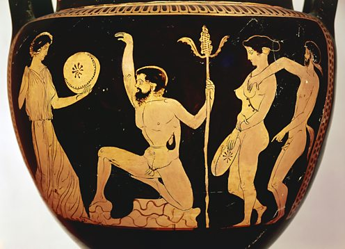 Amphora with Dionysos, satyrs and maenads