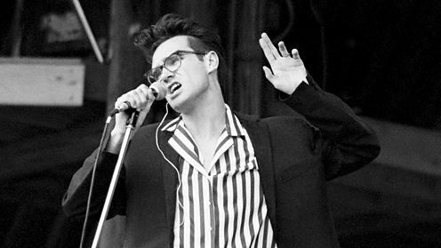 Morrissey of The Smiths onstage at Glastonbury in 1984