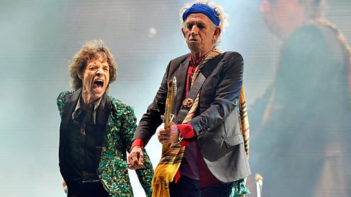 Mick Jagger and Keith Richards of the Rolling Stones onstage at Glastonbury in 2013