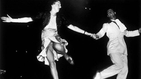 A couple dancing the jitterbug, circa 1938.