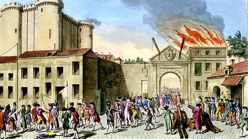 Painting of the storming of the Bastille during the French Revolution
