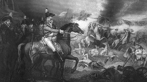 British troops attack the French during the Flanders Campaign.