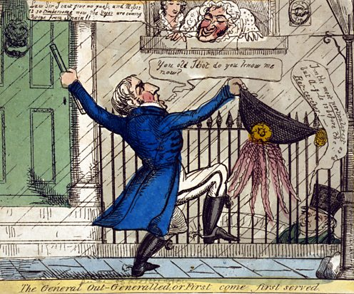 The affairs of Arthur Wellesley, the Duke of Wellington, were lampooned in the press.