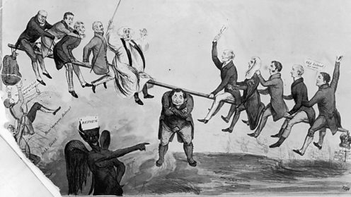 Newspaper illustration showing the rival factions warring over reform
